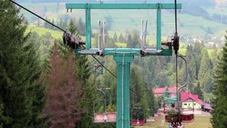Chair lift in Pylypets village, Carpathian Mountains, Ukraine