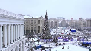 Christmas tree and skating rink on Independence square in Kiev, Ukraine