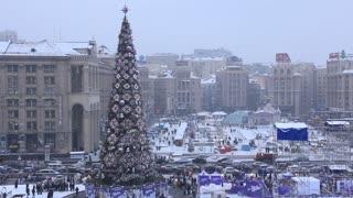 Christmas tree in Independence square, Kiev, Ukraine