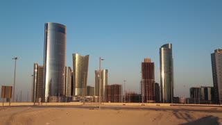 City of Lights complex at Al Reem Island in Abu Dhabi, United Arab Emirates. Abu Dhabi - capital and second most populous city in UAE, after Dubai, and also capital of Abu Dhabi emirate