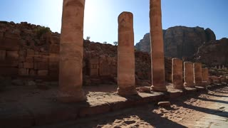 Colonnade Street in Petra - ancient rock-cut city in Hashemite Kingdom of Jordan. Colonnade Street was constructed sometime around 106 AD, after Roman annexation of Petra. UNESCO world heritage site