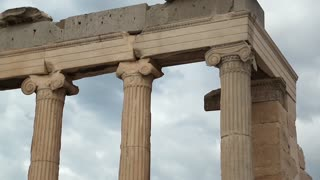 Columns of antique temple in Athenian Acropolis in Greece