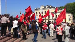 Communist political meeting in Kiev, Ukraine