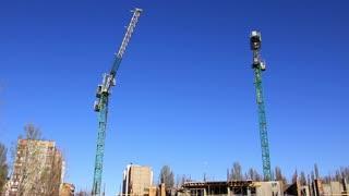 Construction site. Two building crane