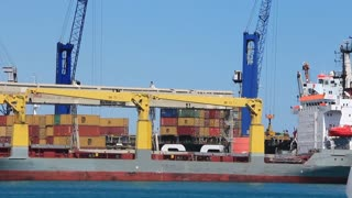 Containerized shipping. Container depot. Seaport in Antalya, Turkey