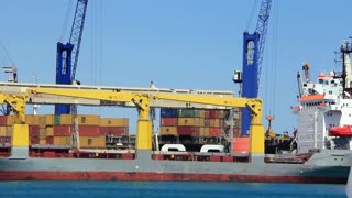 Containerized shipping. Seaport in Antalya, Turkey