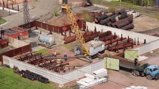 Crane loading video stock footage