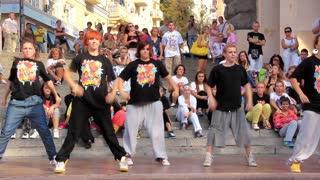 Dance studio. Young people dance on the street