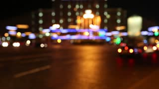 Defocused cars in night city with sound