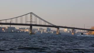 Dnieper river and footbridge in Kiev, Ukraine