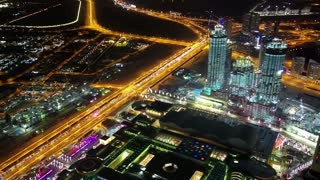 Dubai downtown at night, United Arab Emirates. View on Dubai Mall and Address hotel from the 124th floor of Burj Khalifa skyscraper in Dubai, currently the tallest structure in the world, 829,8 m