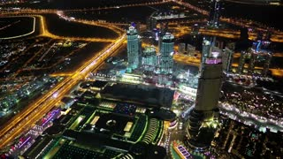 Dubai downtown at night, United Arab Emirates. View on Dubai Mall and Address hotel from the 124th floor of Burj Khalifa skyscraper in Dubai, currently the tallest structure in the world