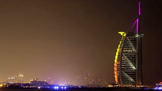 DUBAI, UAE, OCTOBER 23, 2011: 4K (4096x2304) Timelapse: Luxurious night hotel - Burj Al Arab (Tower of the Arabs) in Dubai, United Arab Emirates, October 23, 2011