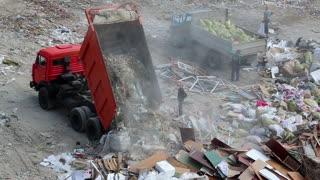 Dump truck on landfill