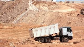 Dumper truck unload ground