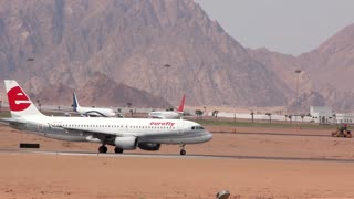 EGYPT, SOUTH SINAI, SHARM EL-SHEIKH, SEPTEMBER 22, 2010: Airplane at the airport in Sharm El Sheikh, Egypt, September, 22, 2010