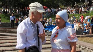Elderly man and woman in ukrainian traditional costume