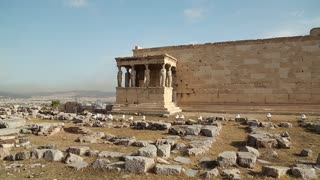 Erechtheion - antique temple in Athenian Acropolis in Greece