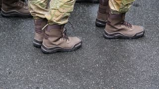 Feet of soldiers. Servicemen at the military parade. Soldiers in military uniform