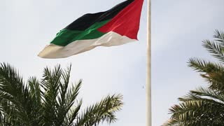 Flag of the Arab Revolt in Aqaba, Hashemite Kingdom of Jordan. Aqaba - only coastal city in Jordan and largest and most populous city on Gulf of Aqaba, and administrative centre of Aqaba Governorate