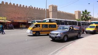 Fortified wall of medina and trafficway in Sousse, Tunisia