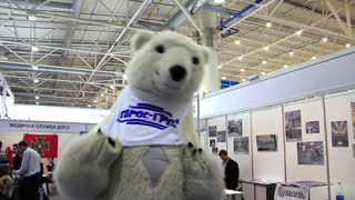 Funny white bear on medical exhibition in Kiev, Ukraine