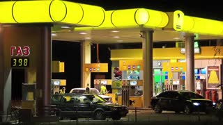 Gasoline stand with yellow roof