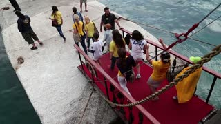 GREECE, ATHENS, JUNE 4, 2013: People walk the gangway of the ship