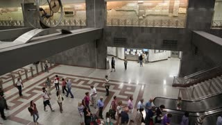 GREECE, ATHENS, JUNE 7, 2013: People inside Syntagma metro station, located at Syntagma Square in the centre of Athens, Greece