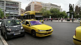 GREECE, ATHENS, JUNE 7, 2013: Road traffic at Syntagma Square in Athens, Greece