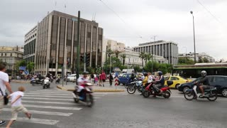 GREECE, ATHENS, JUNE 7, 2013: Road traffic near Parliament and Syntagma square in Athens, Greece, June 7, 2013