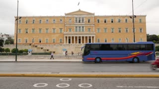 GREECE, ATHENS, JUNE 7, 2013: Road traffic near Parliament and Syntagma square in Athens, Greece