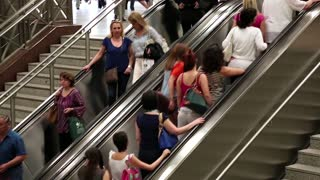 GREECE, ATHENS, JUNE 7, 2013: Timelapse, People on escalator in underground station in Athens, Greece, June 7, 2013