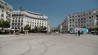 GREECE, THESSALONIKI, JUNE 10, 2013: People at Aristotelous Square in Thessaloniki, Greece