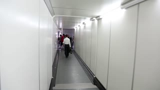 GREECE, THESSALONIKI, JUNE 10, 2013: People inside boarding ramp in airport in Thessaloniki, Greece