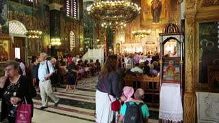 GREECE, THESSALONIKI, JUNE 10, 2013: People inside Panagia Deksia Church in Thessaloniki, Greece