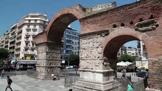 GREECE, THESSALONIKI, JUNE 10, 2013: People near ancient Arch of Galerius in Thessaloniki, Greece