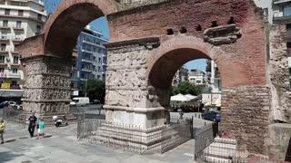 GREECE, THESSALONIKI, JUNE 10, 2013: People near Arch of Galerius in Thessaloniki, Greece, June 7, 2013