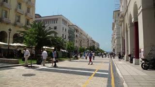 GREECE, THESSALONIKI, JUNE 10, 2013: People near Aristotelous Square in Thessaloniki, Greece
