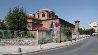 GREECE, THESSALONIKI, JUNE 10, 2013: People near Temple of Hagia Sophia (Holy Wisdom) in Thessaloniki, Greece, June 7, 2013