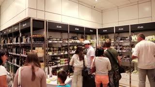 GREECE, THESSALONIKI, JUNE 12, 2013: People inside duty free store in international airport in Thessaloniki, Greece