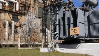 Heat electropower station. Transformer on outdoor switchgear
