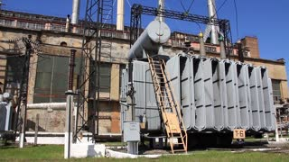 Heat electropower station with big transformers on outdoor switchgear
