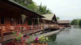 Houses on the bank of Kwai river in northwestern Thailand