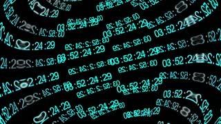 Information flow. Blue digits on black background