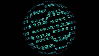 Information world. Sphere with blue digits on black background