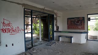 Interior of an abandoned hotel. Dilapidated building