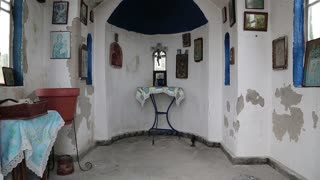 Interior of small temple in mountains on Kassandra peninsula, Chalkidiki, Greece