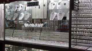 Jewellery shop with silver products