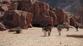 JORDAN, PETRA, DECEMBER 12, 2016: Jordanian rides on a donkey in ancient city of Petra, originally known to Nabataeans as Raqmu - historical and archaeological city in Hashemite Kingdom of Jordan